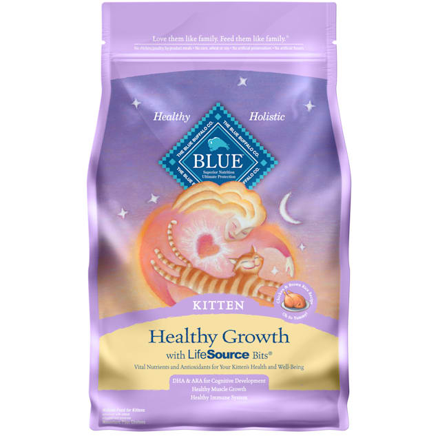 Blue Buffalo Blue Healthy Growth Kitten Chicken & Brown Rice Recipe Dry Cat Food, 3 lbs. - Carousel image #1