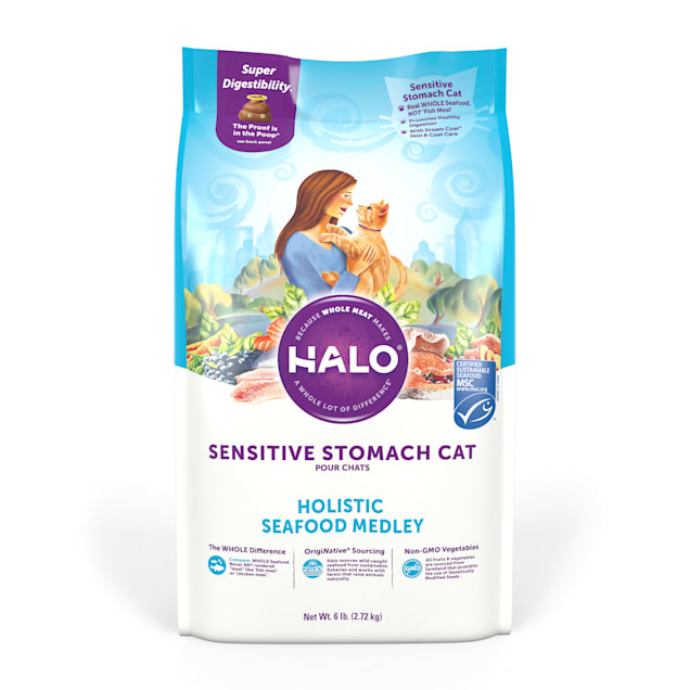Halo Sensitive Stomach Holistic Seafood Medley Dry Cat Food, 6 lbs. - Carousel image #1