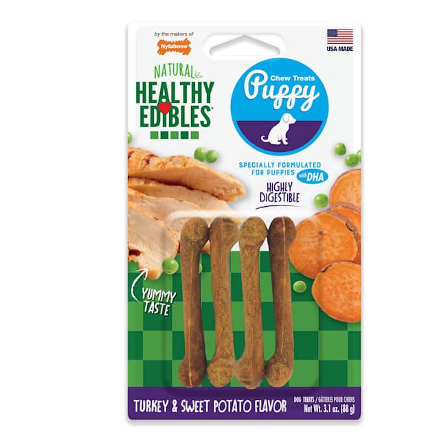 Nylabone Healthy Edibles Turkey & Sweet Potato Puppy Chews, Small - Carousel image #1