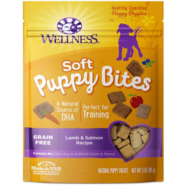 Wellness Natural Grain Free Lamb & Salmon Recipe Soft Puppy Bites Dog Treats, 3 oz - Carousel image #1