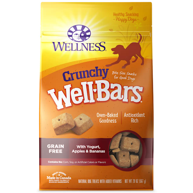 Wellness Natural Grain Free Wellbars Crunchy Yogurt Apples & Bananas Recipe Dog Treats, 20 oz - Carousel image #1