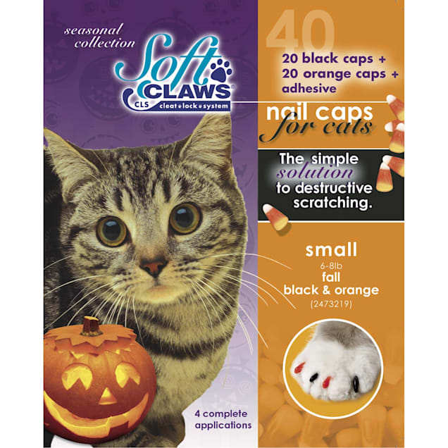 Soft Claws Seasonal Halloween Orange & Black Cat Nail Caps, Small - Carousel image #1