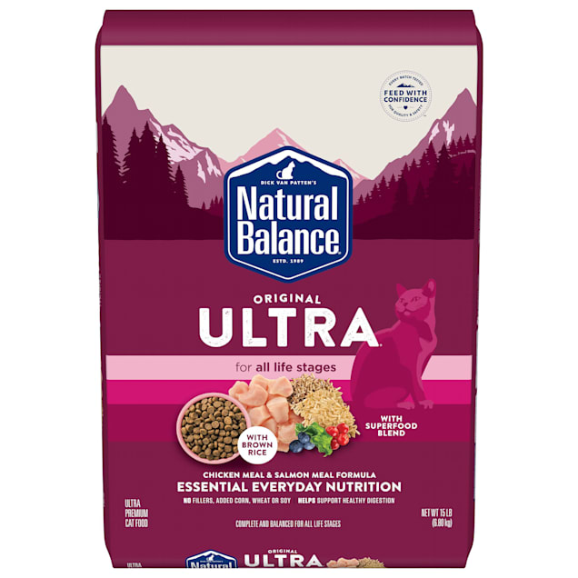 Natural Balance Original Ultra Whole Body Health Chicken Meal & Salmon Meal Formula Dry Cat Food, 15 lbs. - Carousel image #1