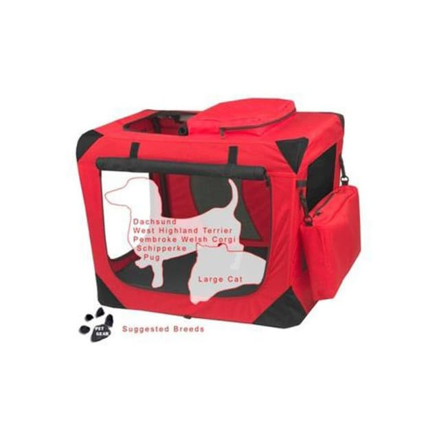 """Pet Gear Generation II Red Deluxe Portable Soft Dog Crate, 27.5"""" L X 18"""" W X 21"""" H - Carousel image #1"""
