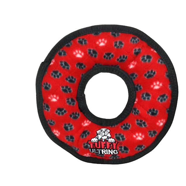 Tuffy's Red Paw Ring Dog Toy, Medium - Carousel image #1