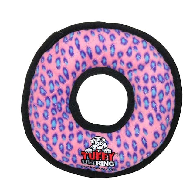 Tuffy's Pink Leopard Ring Dog Toy, Medium - Carousel image #1