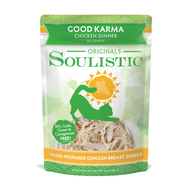 Soulistic Originals Good Karma Chicken Dinner in Gravy Wet Cat Food Pouches, 3 oz., Case of 8 - Carousel image #1