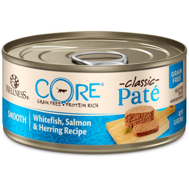 Wellness CORE Natural Grain Free Whitefish Salmon & Herring Pate Wet Cat Food, 5.5 oz., Case of 24 - Carousel image #1
