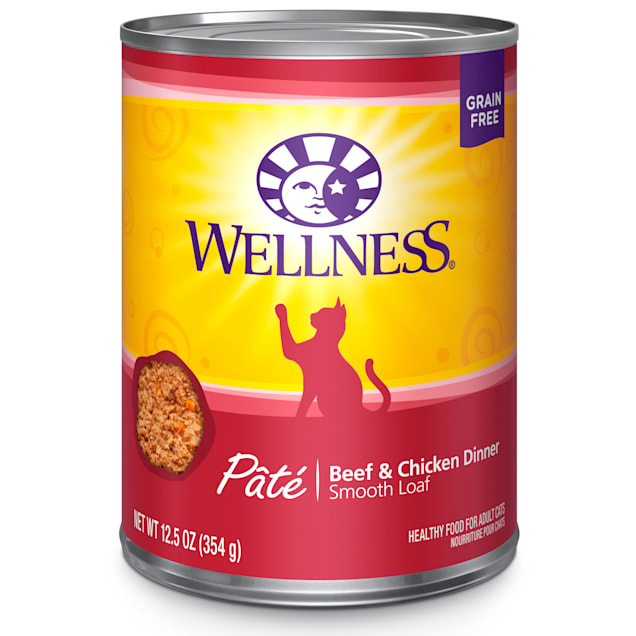 Wellness Complete Health Natural Grain Free Beef & Chicken Pate Wet Cat Food, 12 oz., Case of 12 - Carousel image #1