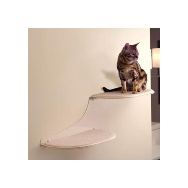 """The Refined Feline Cloud Shelf in Off-White, Right Facing, 10"""" H - Carousel image #1"""