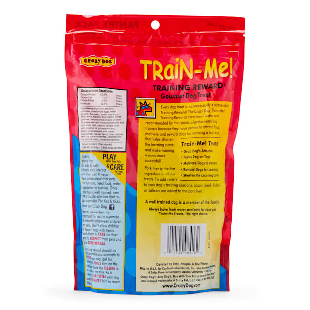 Crazy Dog Train-Me! Bacon Flavored Training Reward Dog Treats, 16-oz bag - Carousel image #1