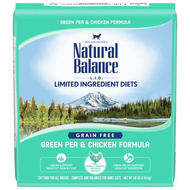 Natural Balance L.I.D. Limited Ingredient Diets Grain Free Green Pea & Chicken Formula Dry Cat Food, 10 lbs. - Carousel image #1