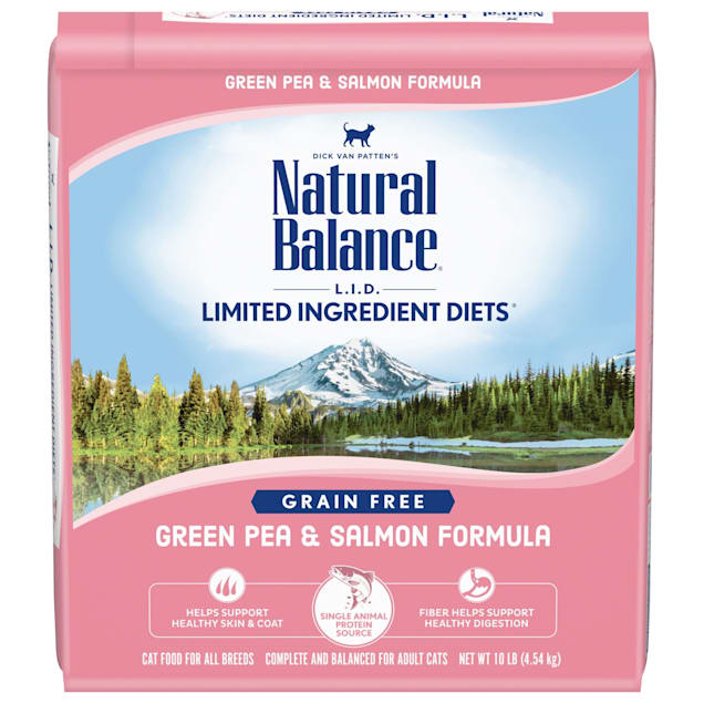 Natural Balance L.I.D. Limited Ingredient Diets Grain Free Green Pea & Salmon Formula Dry Cat Food, 10 lbs. - Carousel image #1
