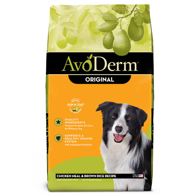 AvoDerm Natural Chicken Meal & Brown Rice Recipe Dry Dog Food, 30 lbs. - Carousel image #1