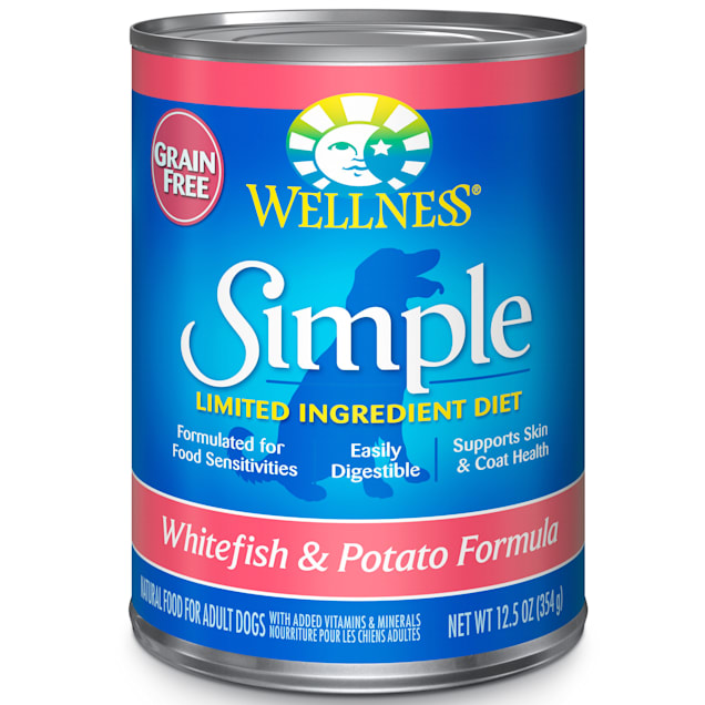 Wellness Simple Natural Limited Ingredient Grain Free Canned Dog Food, Whitefish & Potato, 12.5 oz., Case of 12 - Carousel image #1