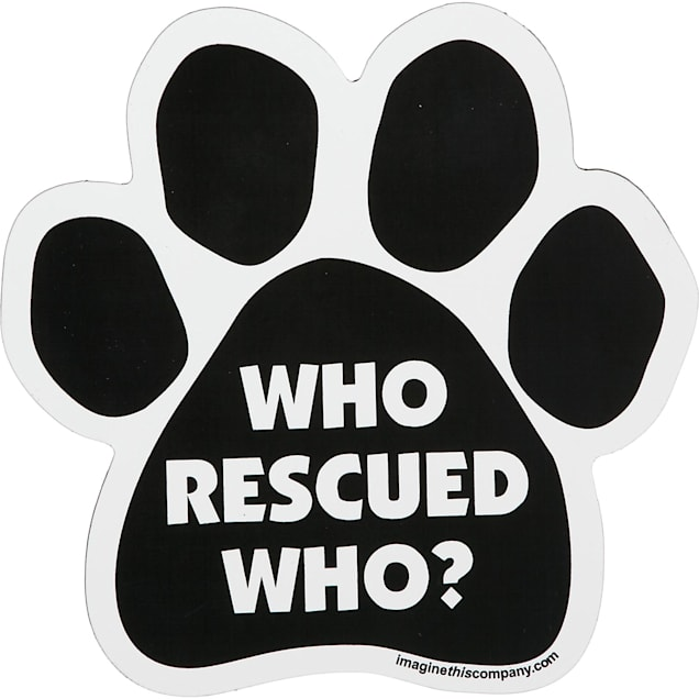 Imagine This Who Rescued Who Paw Shaped Car Magnet - Carousel image #1