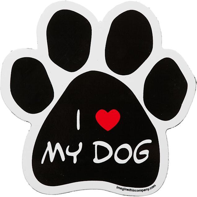 Imagine This I Love My Dog Paw Shaped Car Magnet - Carousel image #1
