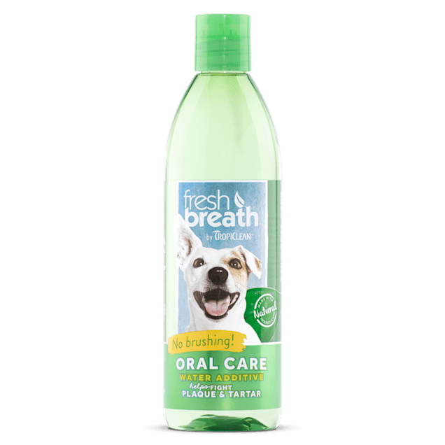 TropiClean Fresh Breath Oral Care Water Additive for Dogs, 16 oz. - Carousel image #1