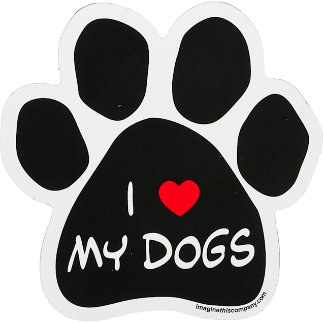 Imagine This I Love My Dogs Paw Shaped Car Magnet - Carousel image #1
