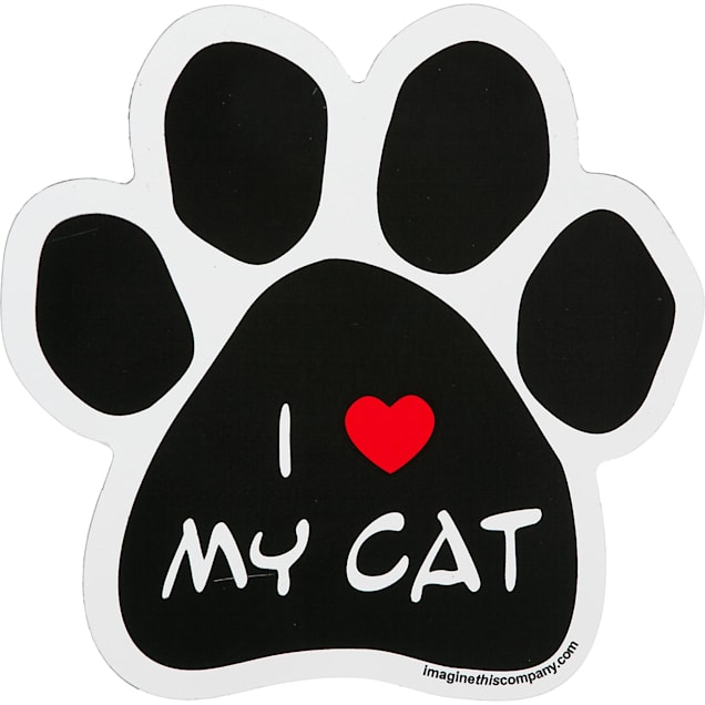 Imagine This I Love My Cat Paw Shaped Car Magnet - Carousel image #1
