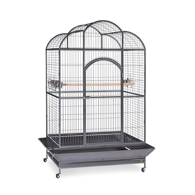 Prevue Pet Products Signature Series Wrought Iron Silverado Macaw Dometop Bird Cage in Silver - Carousel image #1
