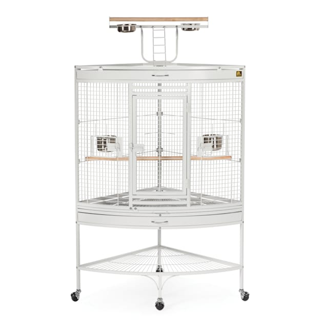 Prevue Pet Products Corner Parrot Signature Series Wrought Iron Bird Cage in White - Carousel image #1