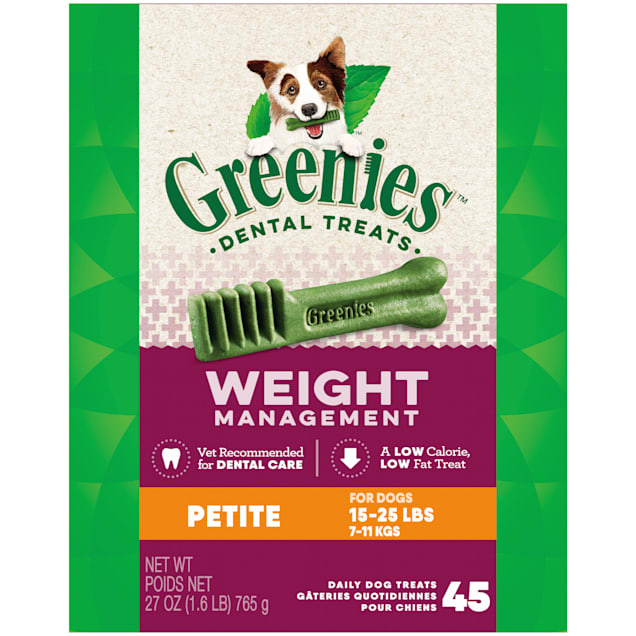 Greenies Weight Management Petite Natural Dog Dental Care Chews Dog Treats, 27 oz., Count of 45 - Carousel image #1