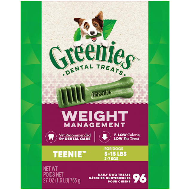 Greenies Weight Management Teenie Natural Dog Dental Care Chews Dog Treats, 27 oz., Count of 96 - Carousel image #1