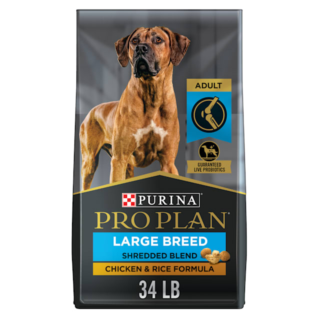 Purina Pro Plan With Probiotics Large Breed Shredded Blend Chicken & Rice Formula Dry Dog Food, 34 lbs. - Carousel image #1