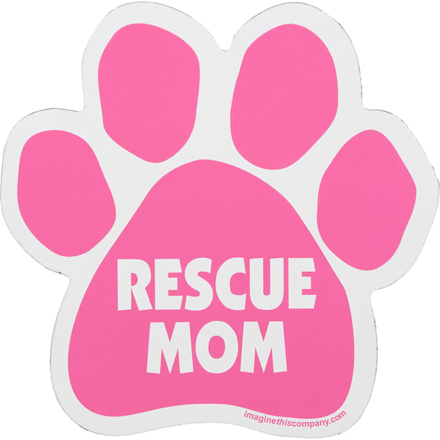 Imagine This Rescue Mom Pink Paw Shaped Car Magnet - Carousel image #1