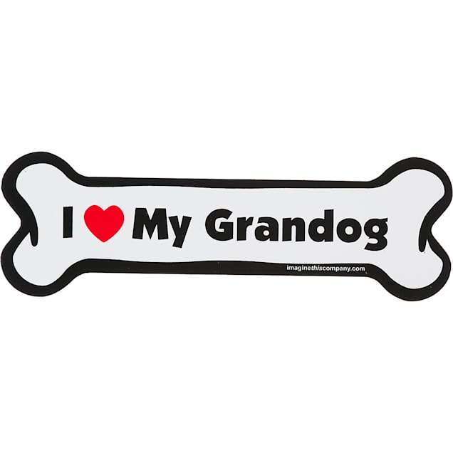 Imagine This I Love My Grandog Bone Shaped Car Magnet - Carousel image #1