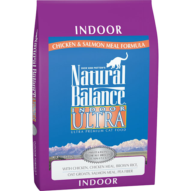 Natural Balance Indoor Ultra Chicken Meal, Brown Rice, Oat Groats, Salmon Meal & Pea Fiber Dry Cat Food, 15 lbs. - Carousel image #1