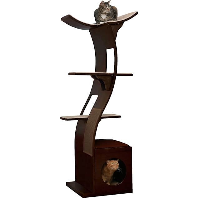 """The Refined Feline Lotus Tower Cat Tree in Espresso, 69"""" H - Carousel image #1"""