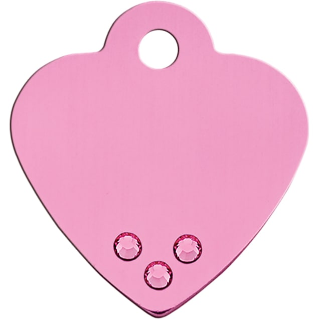 Quick-Tag Small Crystal Pink Heart Personalized Engraved Pet ID Tag - Carousel image #1
