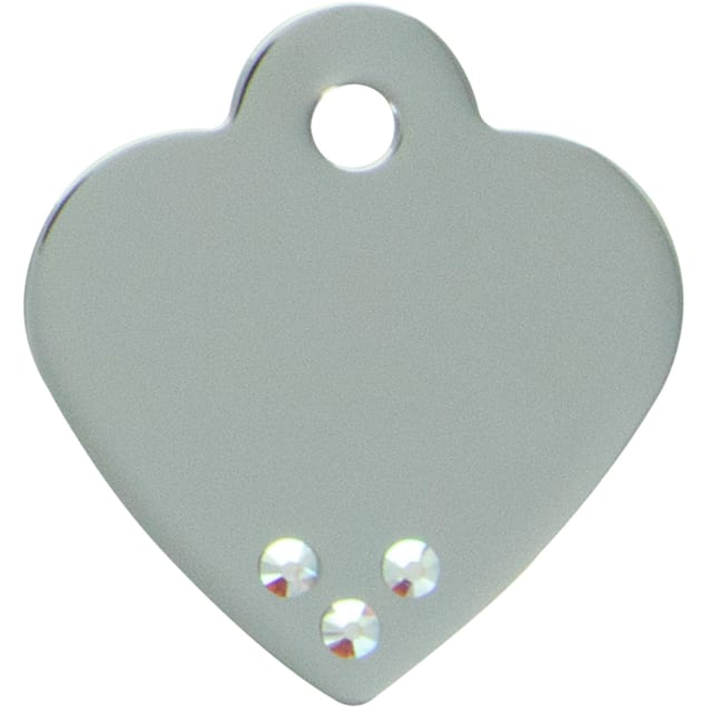 Quick-Tag Small Aurora Crystal Small Chrome Heart Personalized Engraved Pet ID Tag - Carousel image #1