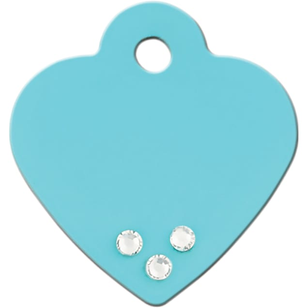 Quick-Tag Small Crystal Turquoise Heart Personalized Engraved Pet ID Tag - Carousel image #1