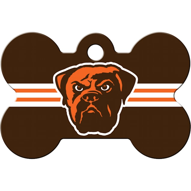 Quick-Tag Cleveland Browns NFL Bone Personalized Engraved Pet ID Tag - Carousel image #1