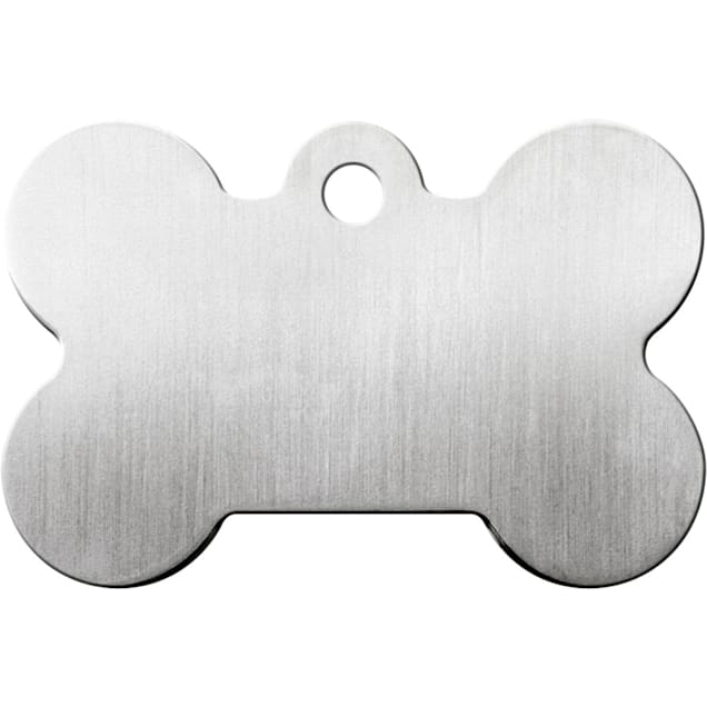 Quick-Tag Large Brushed Chrome Bone Personalized Engraved Pet ID Tag - Carousel image #1