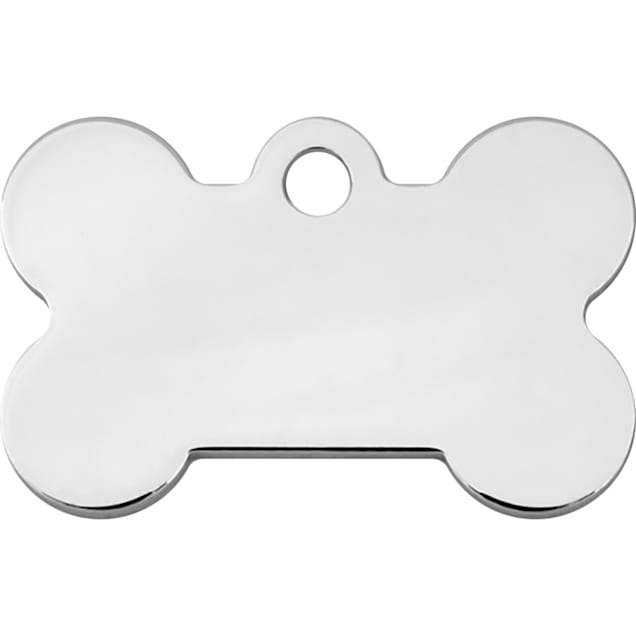 Quick-Tag Chrome Bone Personalized Engraved Pet ID Tag, Small - Carousel image #1