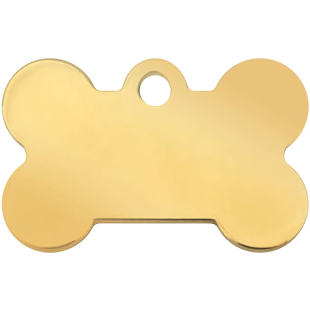 Quick-Tag Small Gold Bone Personalized Engraved Pet ID Tag - Carousel image #1