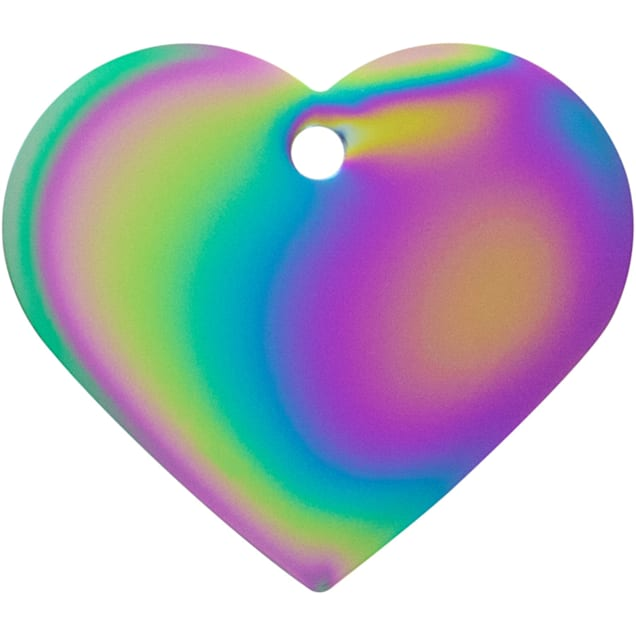 Quick-Tag Rainbow Heart Personalized Engraved Pet ID Tag, Large - Carousel image #1