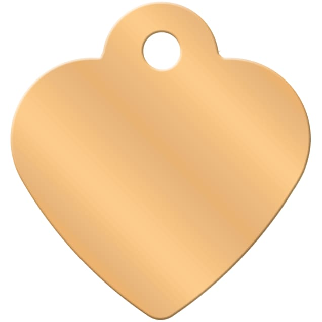 Quick-Tag Gold Heart Personalized Engraved Pet ID Tag, Small - Carousel image #1