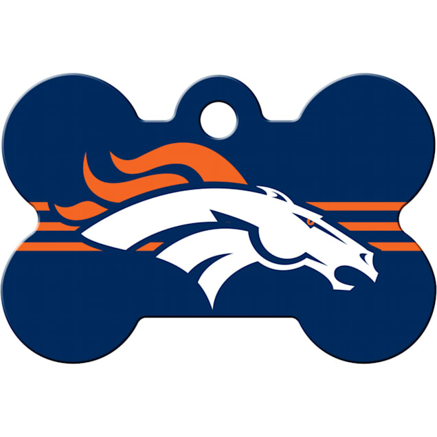 Quick-Tag Denver Broncos NFL Bone Personalized Engraved Pet ID Tag - Carousel image #1