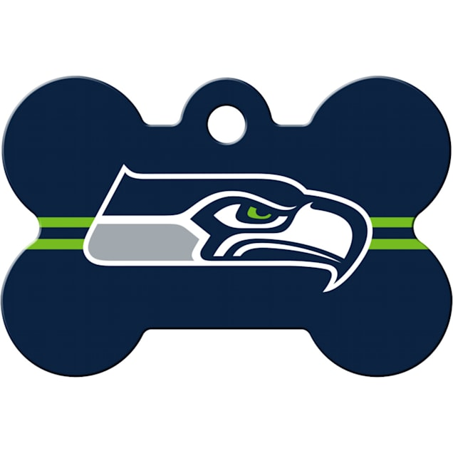 Quick-Tag Seattle Seahawks NFL Bone Personalized Engraved Pet ID Tag - Carousel image #1
