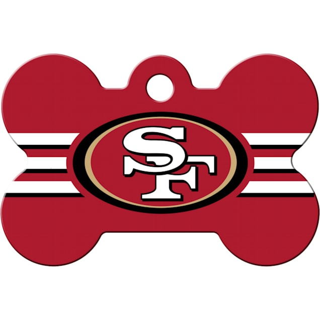 Quick-Tag San Francisco 49ers NFL Bone Personalized Engraved Pet ID Tag, Large - Carousel image #1