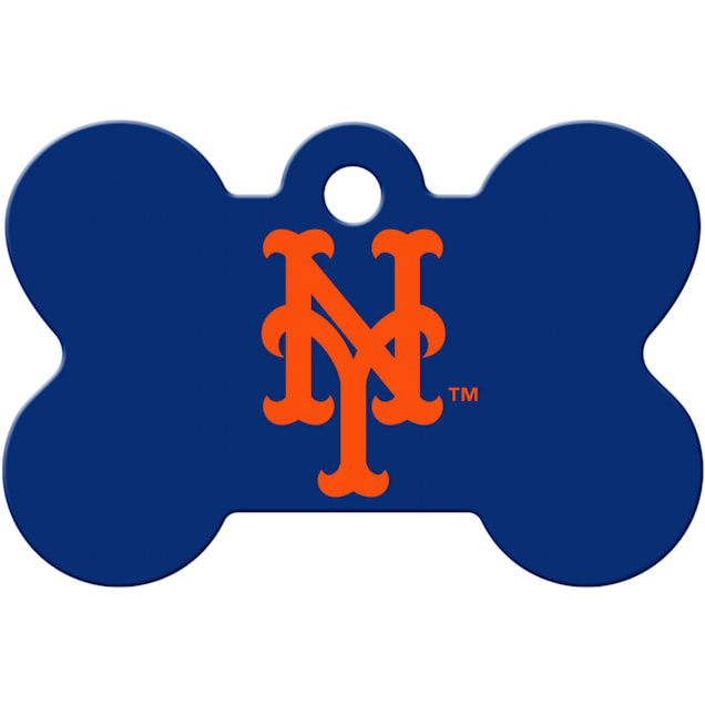 Quick-Tag New York Mets MLB Bone Personalized Engraved Pet ID Tag - Carousel image #1