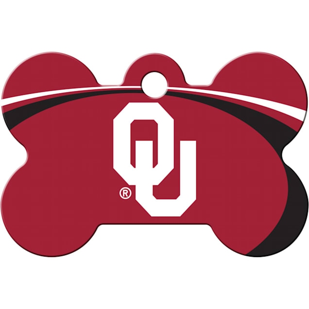 Quick-Tag Oklahoma Sooners NCAA Bone Personalized Engraved Pet ID Tag - Carousel image #1