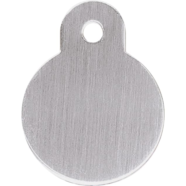 Quick-Tag Brushed Chrome Circle Personalized Engraved Pet ID Tag, Large - Carousel image #1