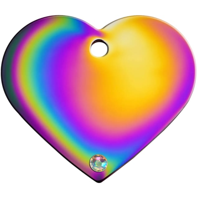 Quick-Tag Large Crystal Rainbow Heart Personalized Engraved Pet ID Tag - Carousel image #1