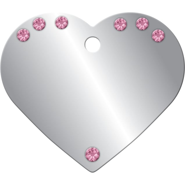 Quick-Tag Large Pink Crystal Chrome Heart Personalized Engraved Pet ID Tag - Carousel image #1